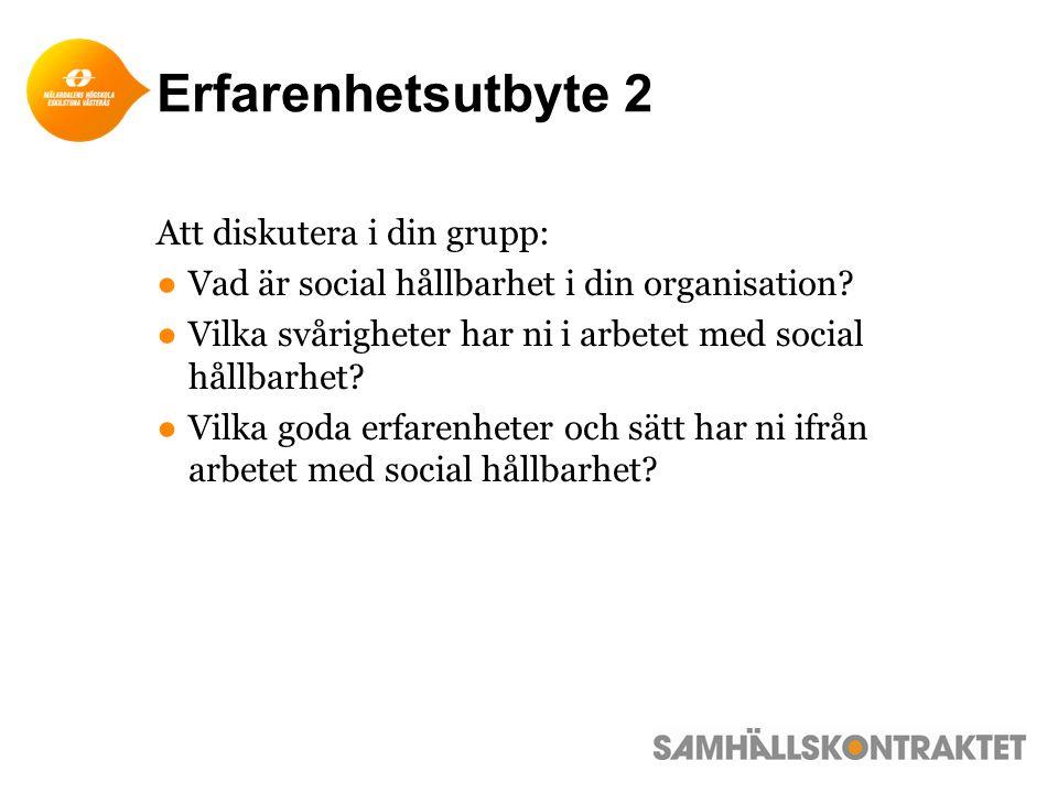 Erfarenhetsutbyte 2 Att diskutera i din grupp: ●Vad är social hållbarhet i din organisation.