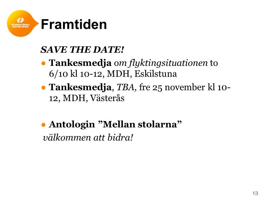Framtiden SAVE THE DATE! ●Tankesmedja om flyktingsituationen to 6/10 kl 10-12, MDH, Eskilstuna ●Tankesmedja, TBA, fre 25 november kl 10- 12, MDH, Väst