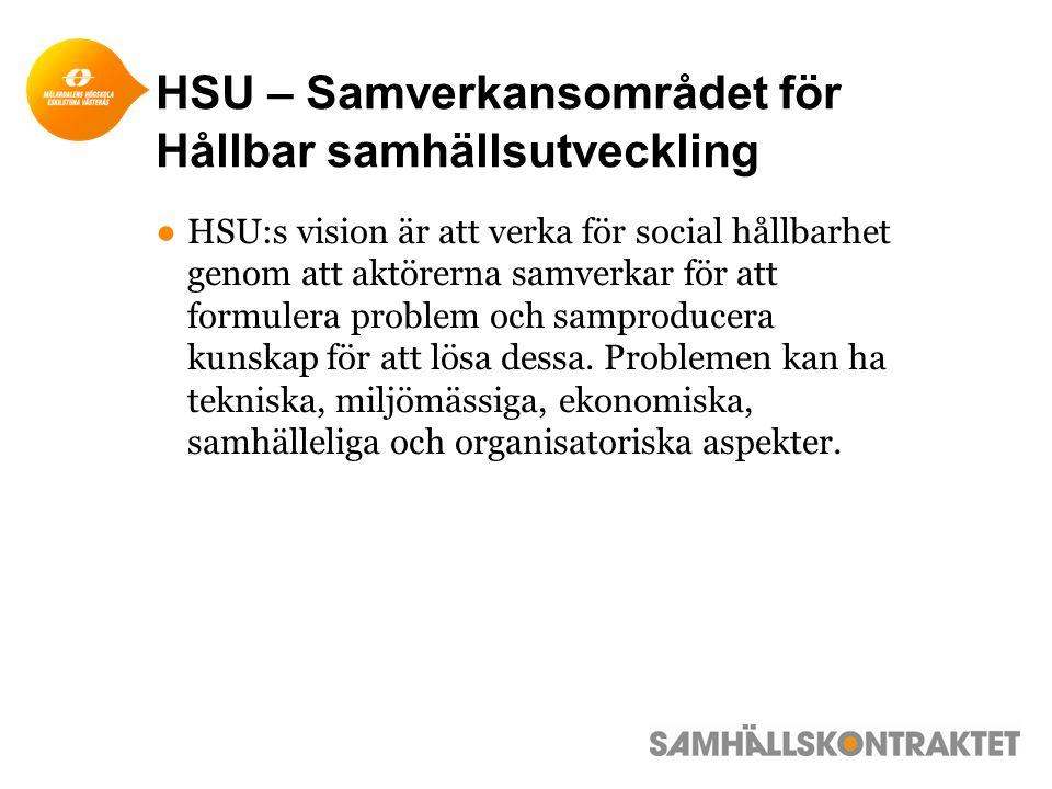 HSU – Samverkansområdet för Hållbar samhällsutveckling ●HSU:s vision är att verka för social hållbarhet genom att aktörerna samverkar för att formulera problem och samproducera kunskap för att lösa dessa.
