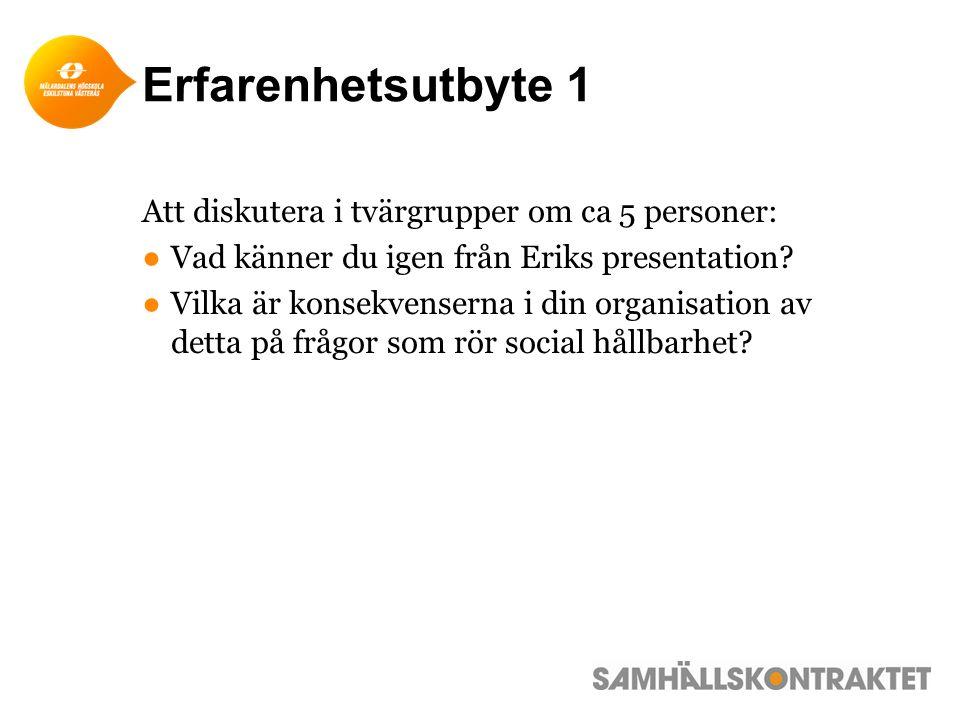 Erfarenhetsutbyte 1 Att diskutera i tvärgrupper om ca 5 personer: ●Vad känner du igen från Eriks presentation.