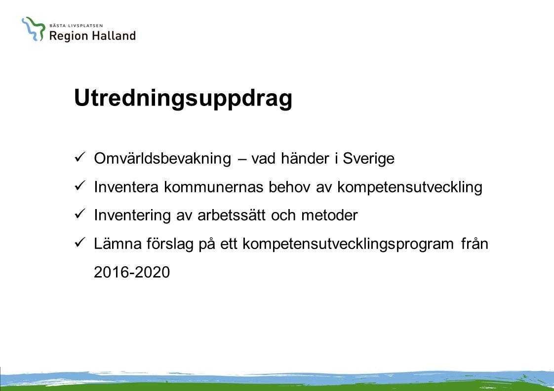 Utredningsuppdrag Omvärldsbevakning – vad händer i Sverige Inventera kommunernas behov av kompetensutveckling Inventering av arbetssätt och metoder Lämna förslag på ett kompetensutvecklingsprogram från 2016-2020
