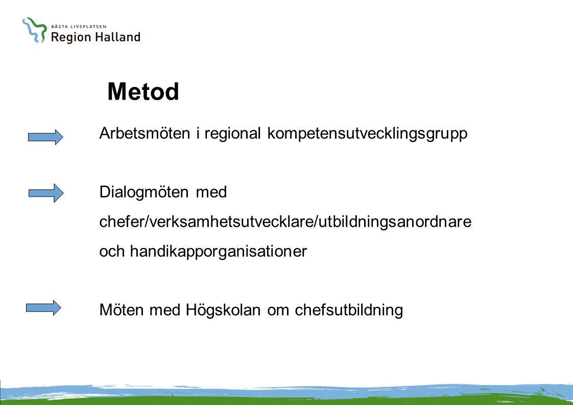 Metod Arbetsmöten i regional kompetensutvecklingsgrupp Dialogmöten med chefer/verksamhetsutvecklare/utbildningsanordnare och handikapporganisationer Möten med Högskolan om chefsutbildning