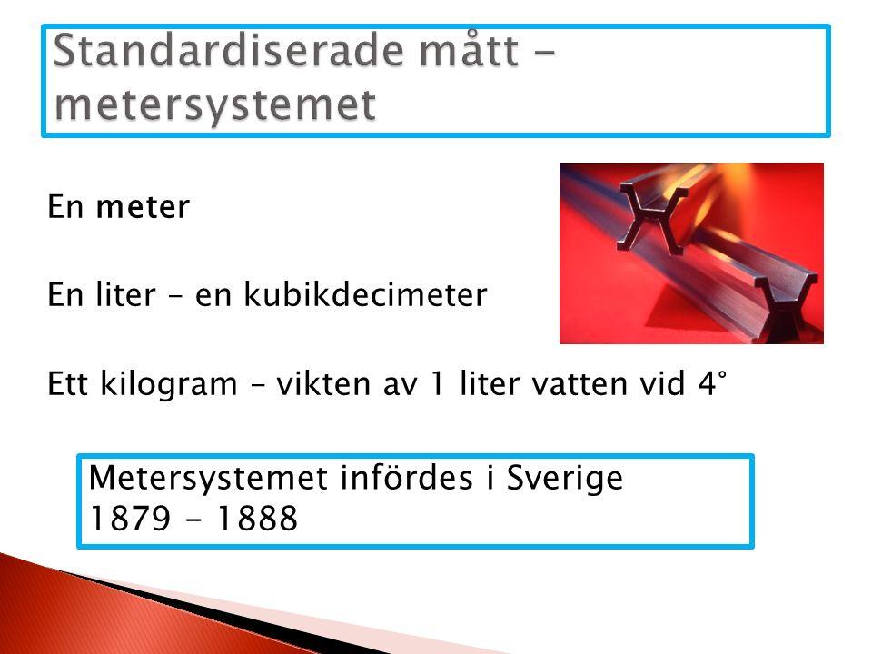 En meter En liter – en kubikdecimeter Ett kilogram – vikten av 1 liter vatten vid 4° Metersystemet infördes i Sverige 1879 - 1888