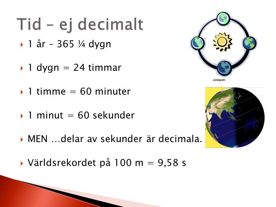 1 år – 365 ¼ dygn  1 dygn = 24 timmar  1 timme = 60 minuter  1 minut = 60 sekunder  MEN …delar av sekunder är decimala.