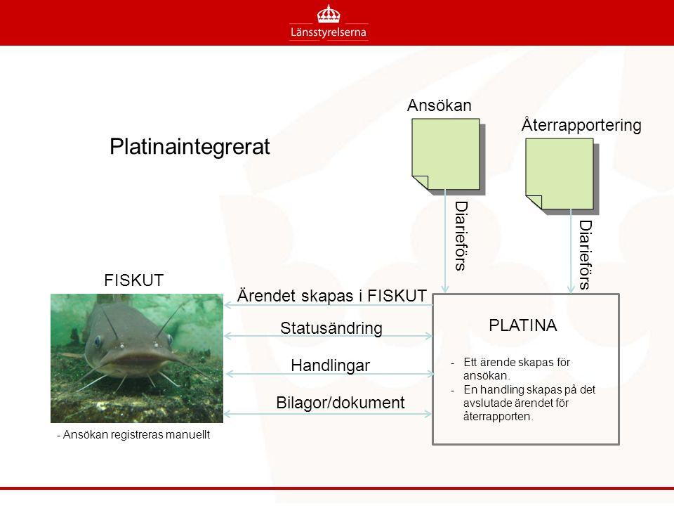 FISKUT Ansökan Återrapportering Ärendet skapas i FISKUT PLATINA -Ett ärende skapas för ansökan. -En handling skapas på det avslutade ärendet för återr