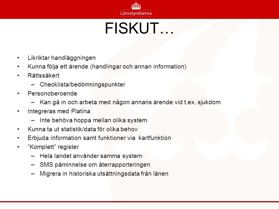 FISKUT… Likriktar handläggningen Kunna följa ett ärende (handlingar och annan information) Rättssäkert –Checklista/bedömningspunkter Personoberoende –Kan gå in och arbeta med någon annans ärende vid t.ex.