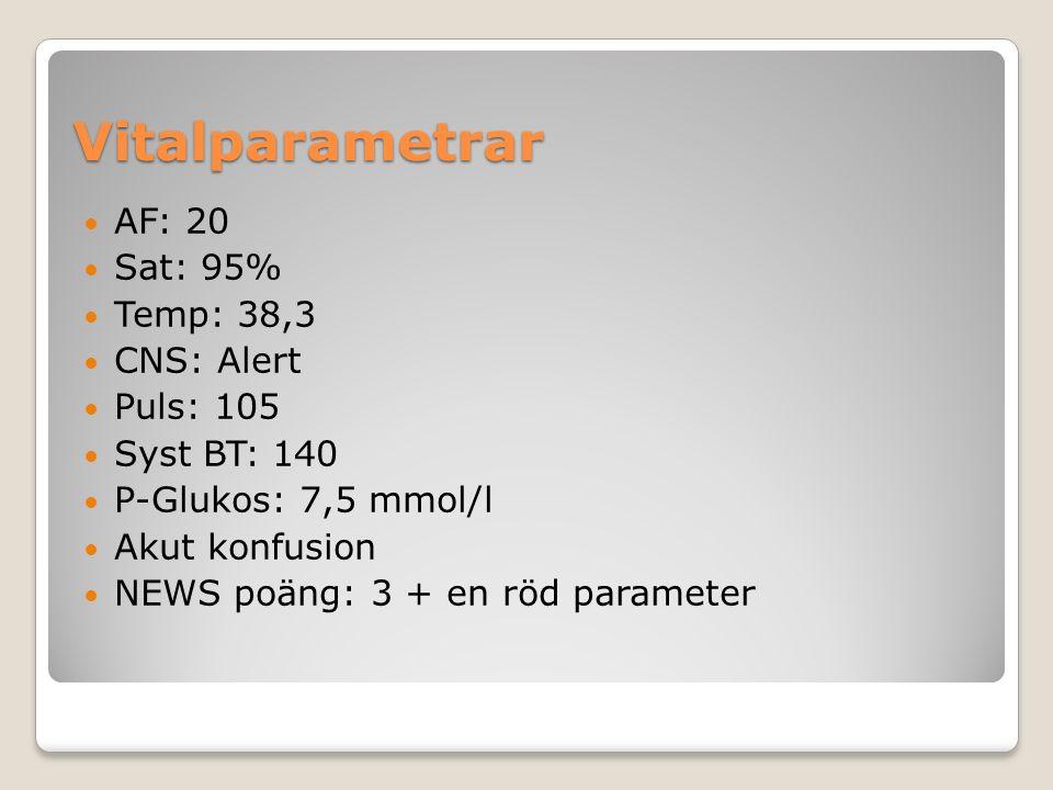 Vitalparametrar AF: 20 Sat: 95% Temp: 38,3 CNS: Alert Puls: 105 Syst BT: 140 P-Glukos: 7,5 mmol/l Akut konfusion NEWS poäng: 3 + en röd parameter