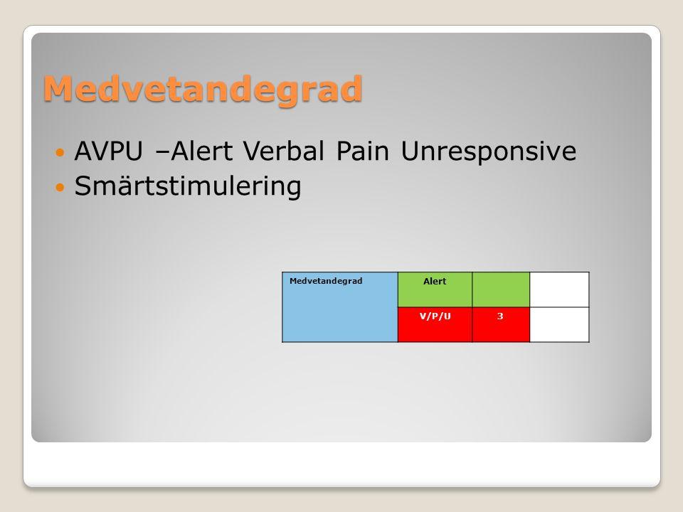 Medvetandegrad AVPU –Alert Verbal Pain Unresponsive Smärtstimulering Medvetandegrad Alert V/P/U3