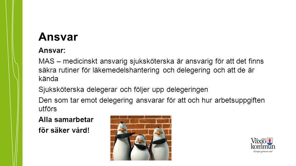 Rutiner för delegering och manual procapita Rutiner för delegering finns på http://www.vaxjo.se/Omsorgens- handbocker---startsida/-Rutiner-for-halso--och-sjukvard- /Delegring/Riktlinjer-for-delegering-/http://www.vaxjo.se/Omsorgens- handbocker---startsida/-Rutiner-for-halso--och-sjukvard- /Delegring/Riktlinjer-for-delegering-/ Manual för delegeringsmodulen i procapita finns för leg.