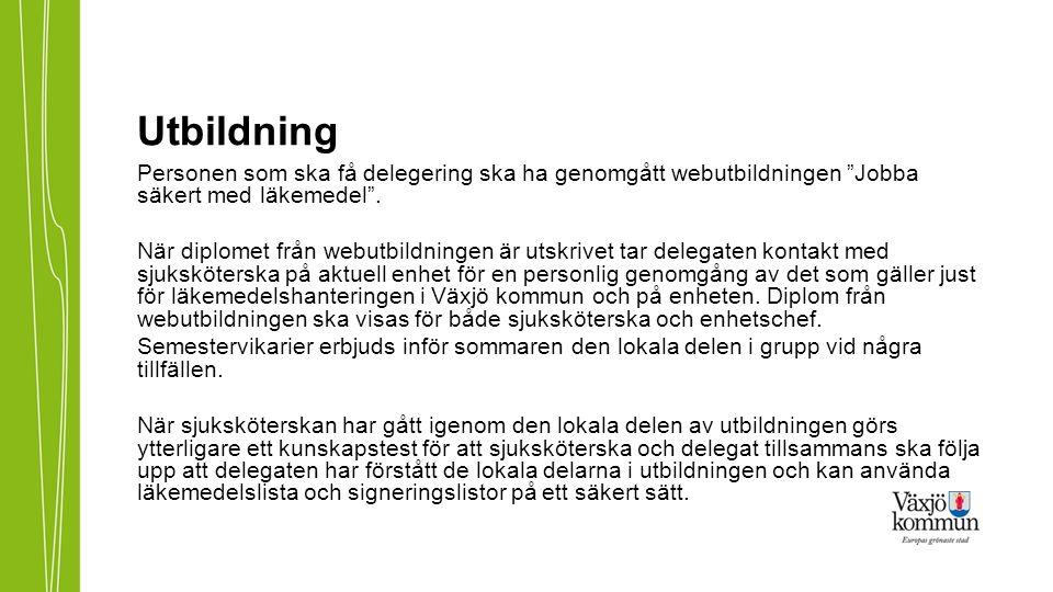 Instruktioner för läkemedelshantering För att hitta instruktionerna, använd följande sökväg: http://www.vaxjo.se/Omsorgens-handbocker---startsida/-Rutiner-for- halso--och-sjukvard-/-Lakemedelshantering-i-Kronobergs-lan-/ Alla kapitel innehåller en del för Kronobergs län.