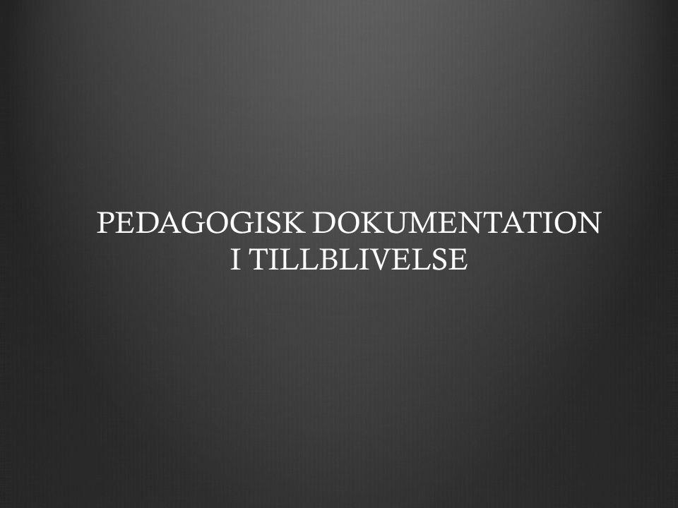 PEDAGOGISK DOKUMENTATION I TILLBLIVELSE