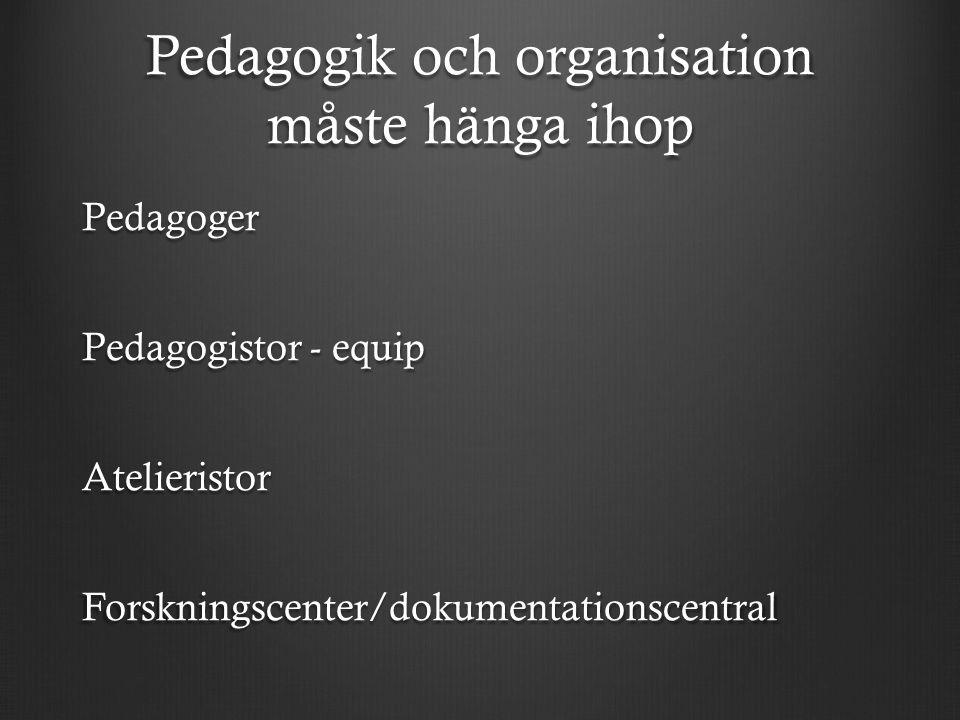 Pedagogik och organisation måste hänga ihop Pedagoger Pedagogistor - equip AtelieristorForskningscenter/dokumentationscentral