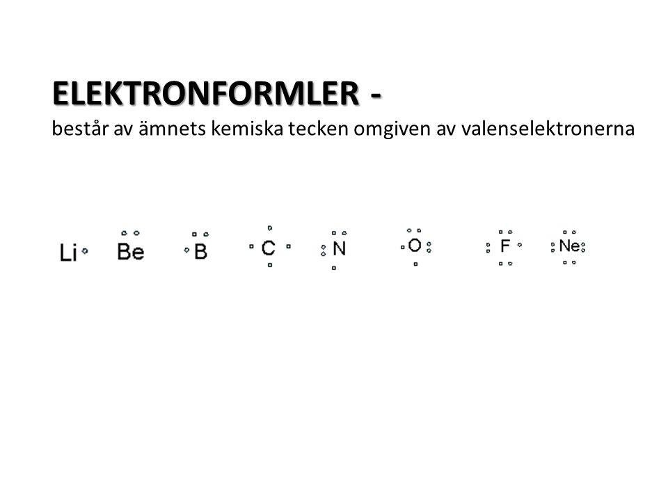 ELEKTRONFORMLER - består av ämnets kemiska tecken omgiven av valenselektronerna