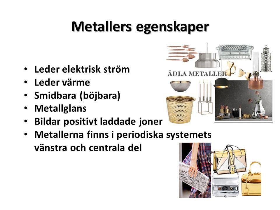 Metallers egenskaper Leder elektrisk ström Leder värme Smidbara (böjbara) Metallglans Bildar positivt laddade joner Metallerna finns i periodiska syst