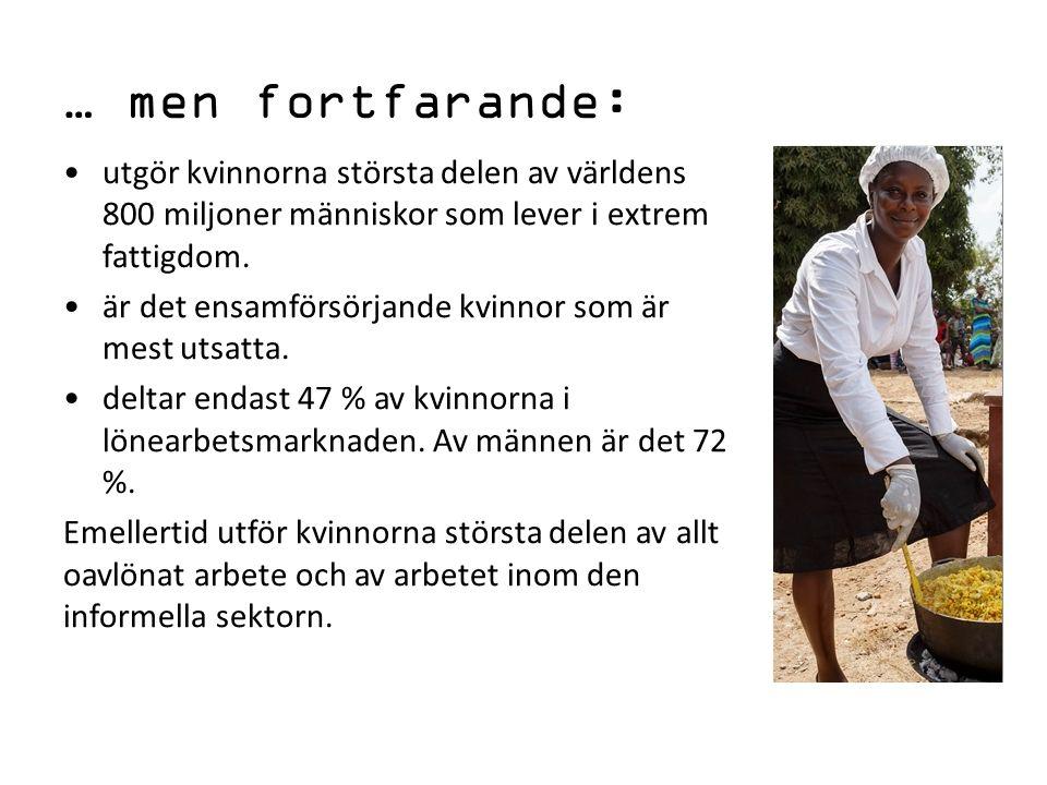 Andel av kvinnorna (ö.15 år) som deltar i förvärvslivet % av kvinnorna Finland55 Liberia58 Uganda76 Kambodja 79 Nepal80 Haiti61