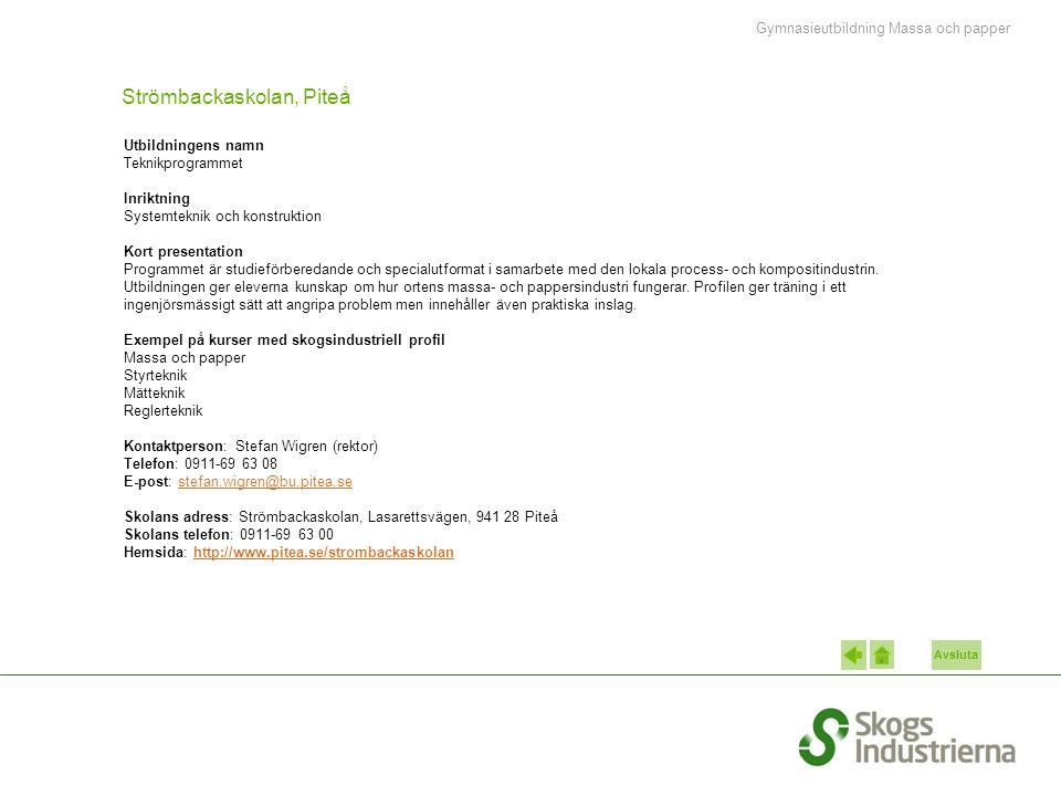 Avsluta Strömbackaskolan, Piteå Utbildningens namn Teknikprogrammet Inriktning Systemteknik och konstruktion Kort presentation Programmet är studieförberedande och specialutformat i samarbete med den lokala process- och kompositindustrin.