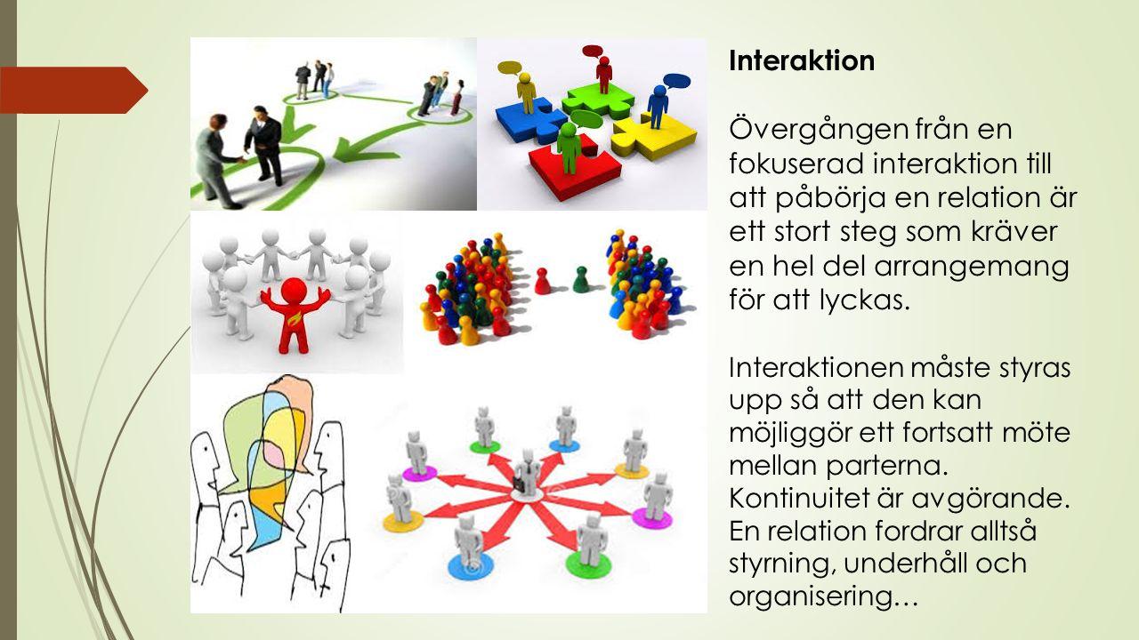 Interaktion Övergången från en fokuserad interaktion till att påbörja en relation är ett stort steg som kräver en hel del arrangemang för att lyckas.
