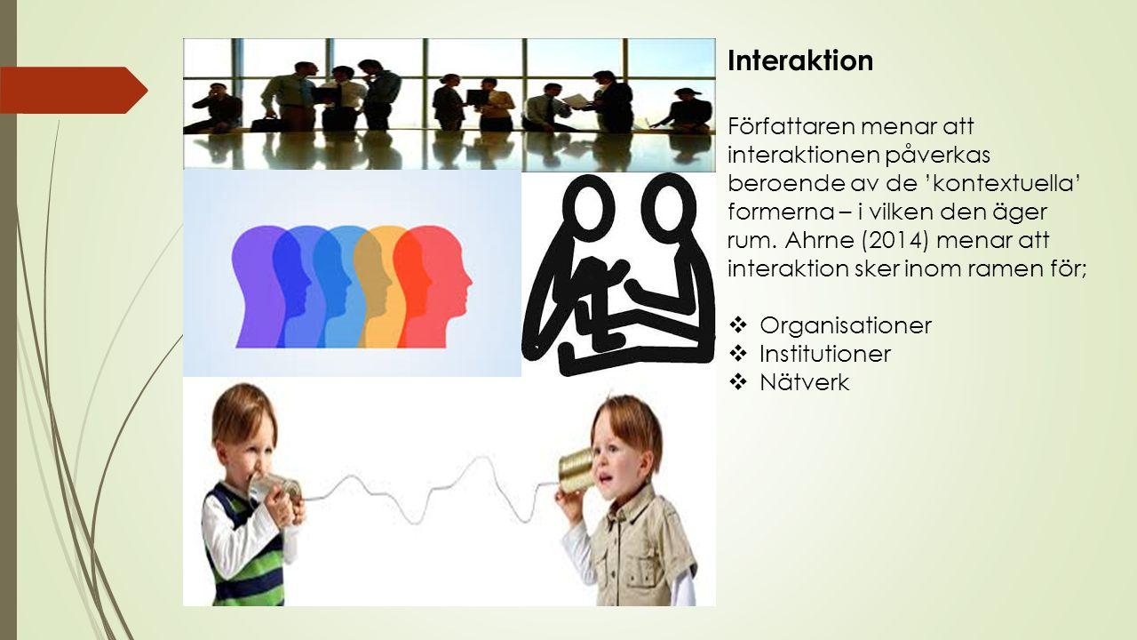 Interaktion Författaren menar att interaktionen påverkas beroende av de 'kontextuella' formerna – i vilken den äger rum.