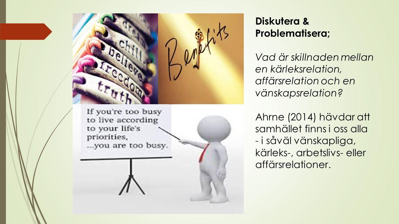 Diskutera & Problematisera; Vad är skillnaden mellan en kärleksrelation, affärsrelation och en vänskapsrelation.