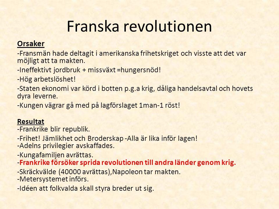 Franska revolutionen Orsaker -Fransmän hade deltagit i amerikanska frihetskriget och visste att det var möjligt att ta makten.