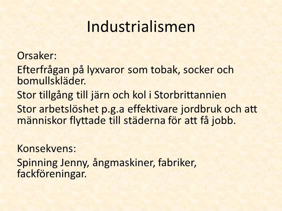 Industrialismen Orsaker: Efterfrågan på lyxvaror som tobak, socker och bomullskläder.