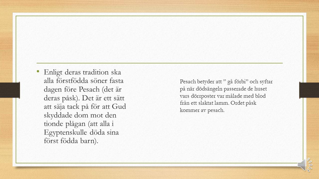 Enligt deras tradition ska alla förstfödda söner fasta dagen före Pesach (det är deras påsk).