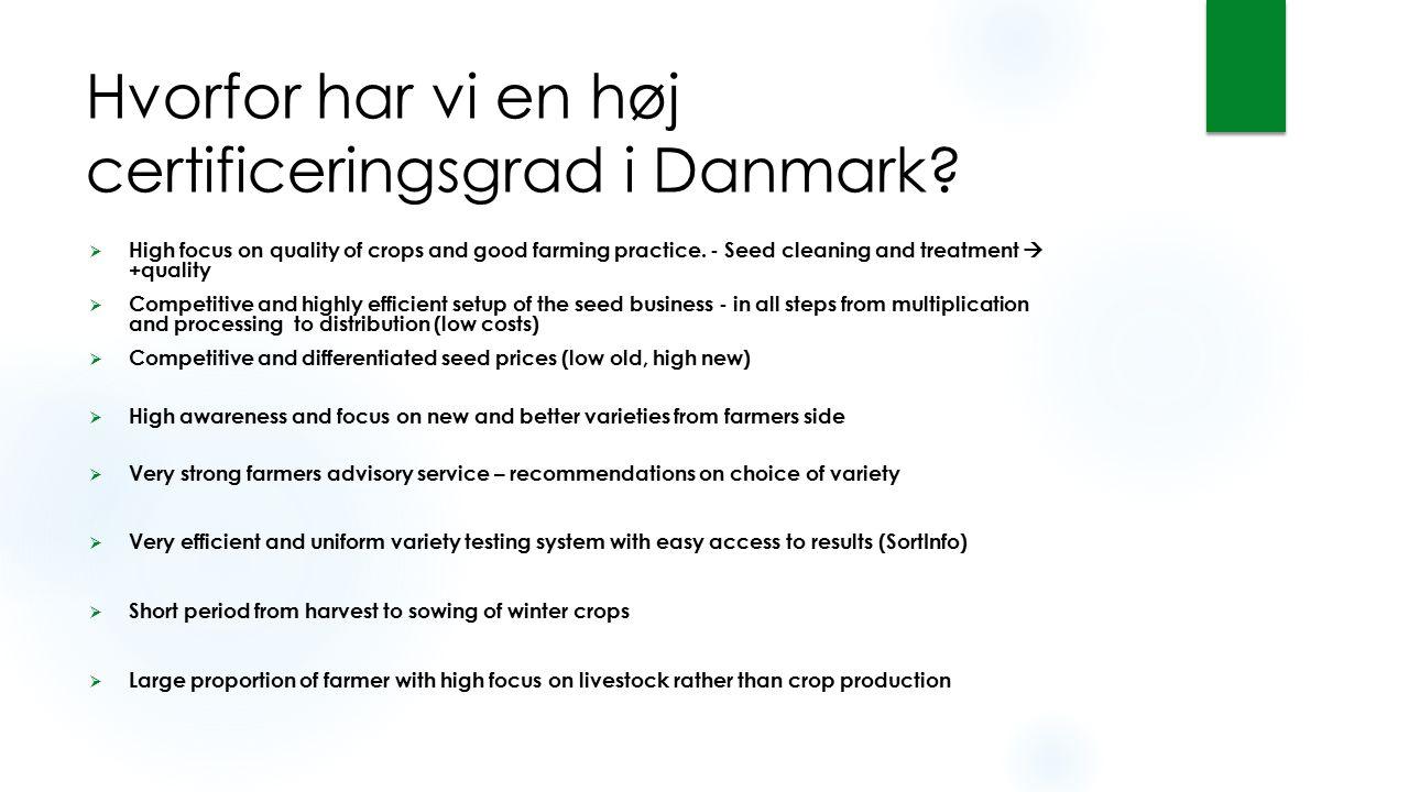Hvorfor har vi en høj certificeringsgrad i Danmark?  High focus on quality of crops and good farming practice. - Seed cleaning and treatment  +quali