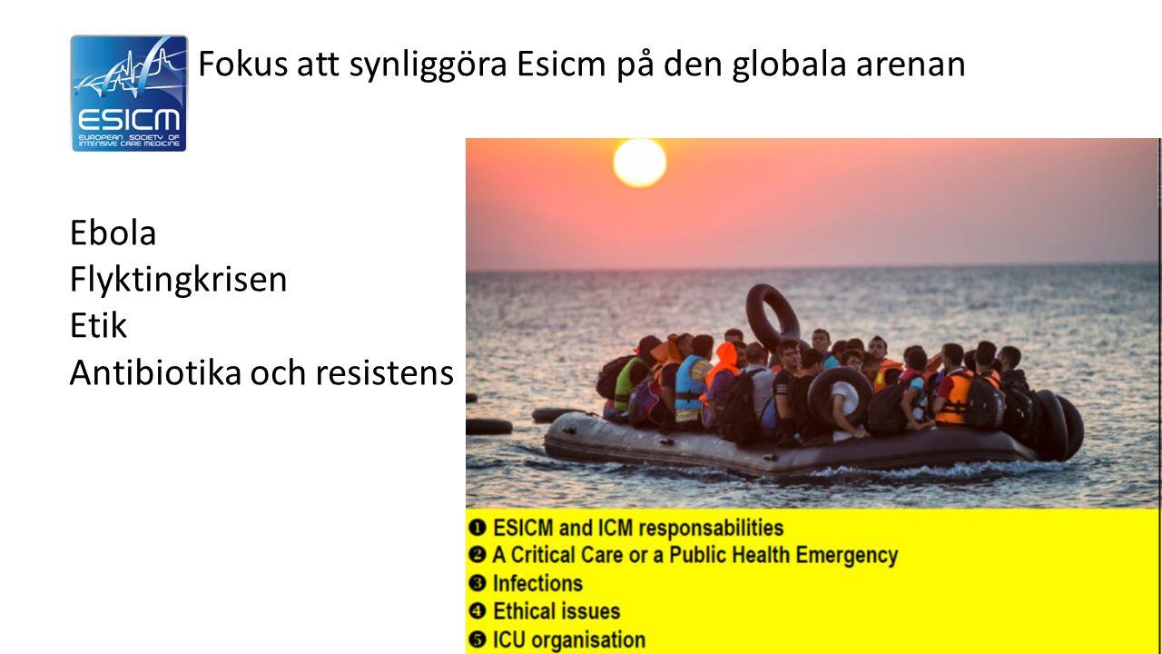 Fokus att synliggöra Esicm på den globala arenan Ebola Flyktingkrisen Etik Antibiotika och resistens