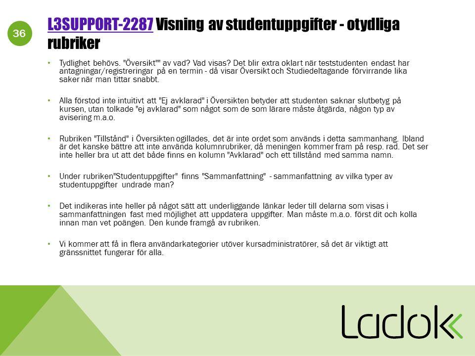 36 L3SUPPORT-2287L3SUPPORT-2287 Visning av studentuppgifter - otydliga rubriker Tydlighet behövs.