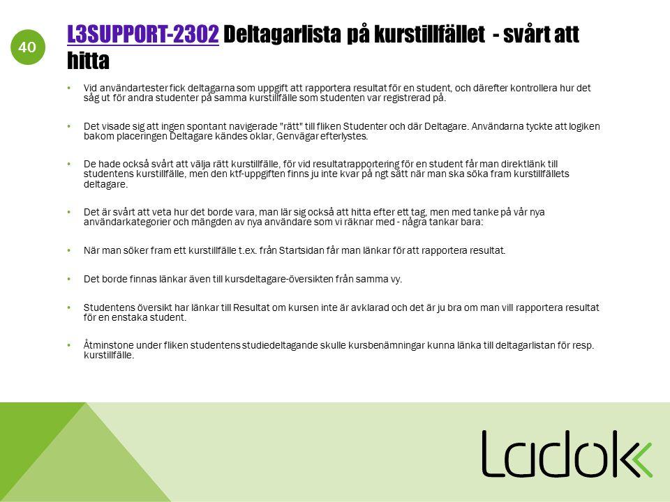 40 L3SUPPORT-2302L3SUPPORT-2302 Deltagarlista på kurstillfället - svårt att hitta Vid användartester fick deltagarna som uppgift att rapportera result