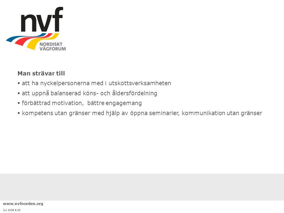 www.nvfnorden.org Juli 2008 7/23 UtskottArbetsområde Organisering och marknadVägsektorns marknadsutveckling och organisationsförnyelse.