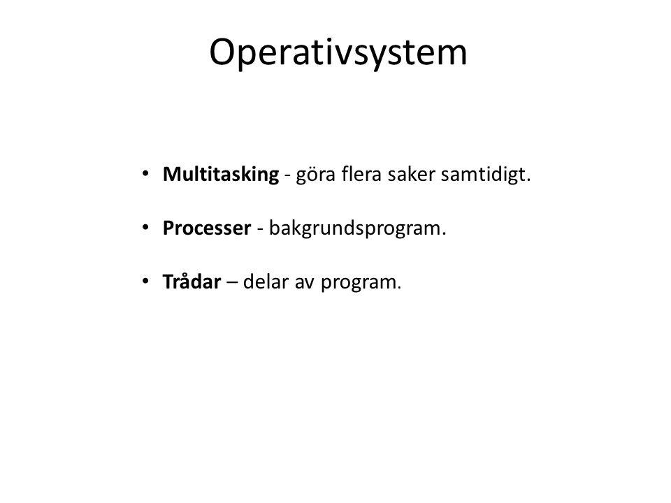 Multitasking - göra flera saker samtidigt. Processer - bakgrundsprogram. Trådar – delar av program.