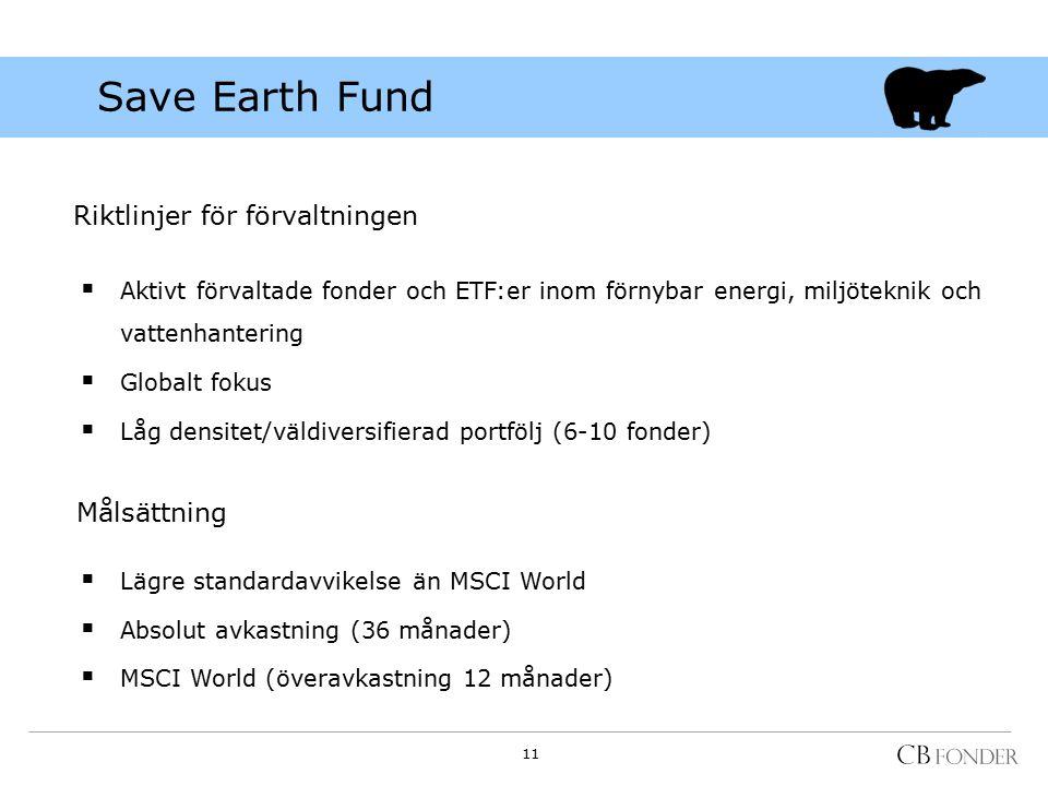Riktlinjer för förvaltningen  Aktivt förvaltade fonder och ETF:er inom förnybar energi, miljöteknik och vattenhantering  Globalt fokus  Låg densitet/väldiversifierad portfölj (6-10 fonder) Målsättning  Lägre standardavvikelse än MSCI World  Absolut avkastning (36 månader)  MSCI World (överavkastning 12 månader) Save Earth Fund 11