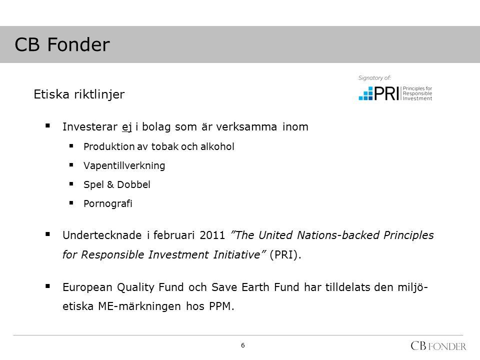Etiska riktlinjer  Investerar ej i bolag som är verksamma inom  Produktion av tobak och alkohol  Vapentillverkning  Spel & Dobbel  Pornografi  Undertecknade i februari 2011 The United Nations-backed Principles for Responsible Investment Initiative (PRI).