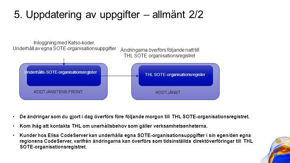 De ändringar som du gjort i dag överförs före följande morgon till THL SOTE-organisationsregistret. Kom ihåg att kontakta THL om unerhållsbehov som gä