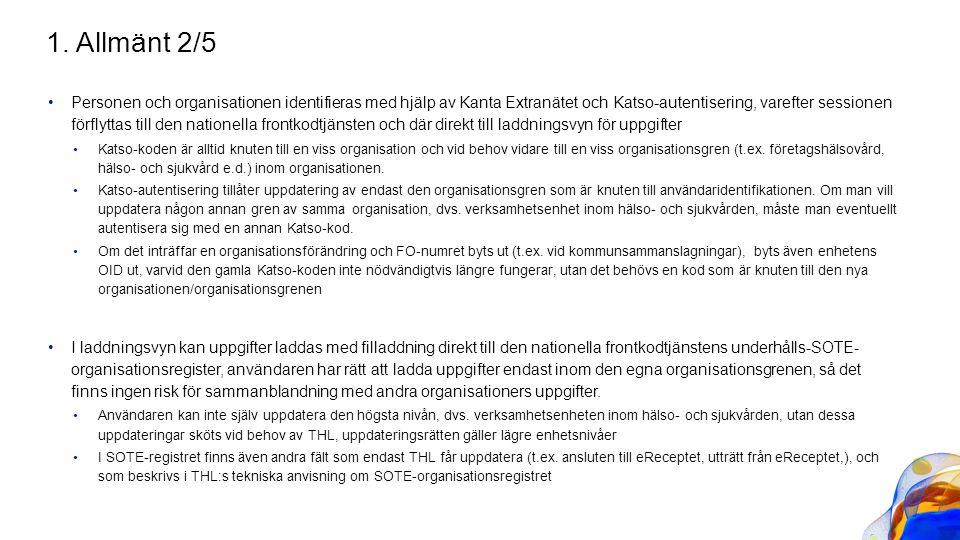 Personen och organisationen identifieras med hjälp av Kanta Extranätet och Katso-autentisering, varefter sessionen förflyttas till den nationella fron