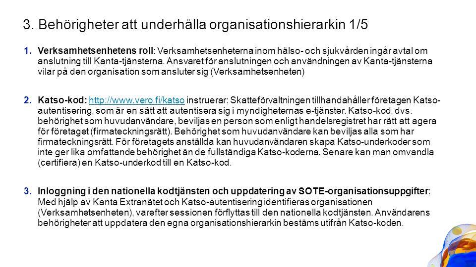 1.Verksamhetsenhetens roll: Verksamhetsenheterna inom hälso- och sjukvården ingår avtal om anslutning till Kanta-tjänsterna. Ansvaret för anslutningen