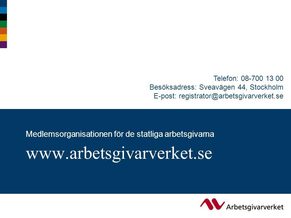 Telefon: 08-700 13 00 Besöksadress: Sveavägen 44, Stockholm E-post: registrator@arbetsgivarverket.se www.arbetsgivarverket.se Medlemsorganisationen för de statliga arbetsgivarna