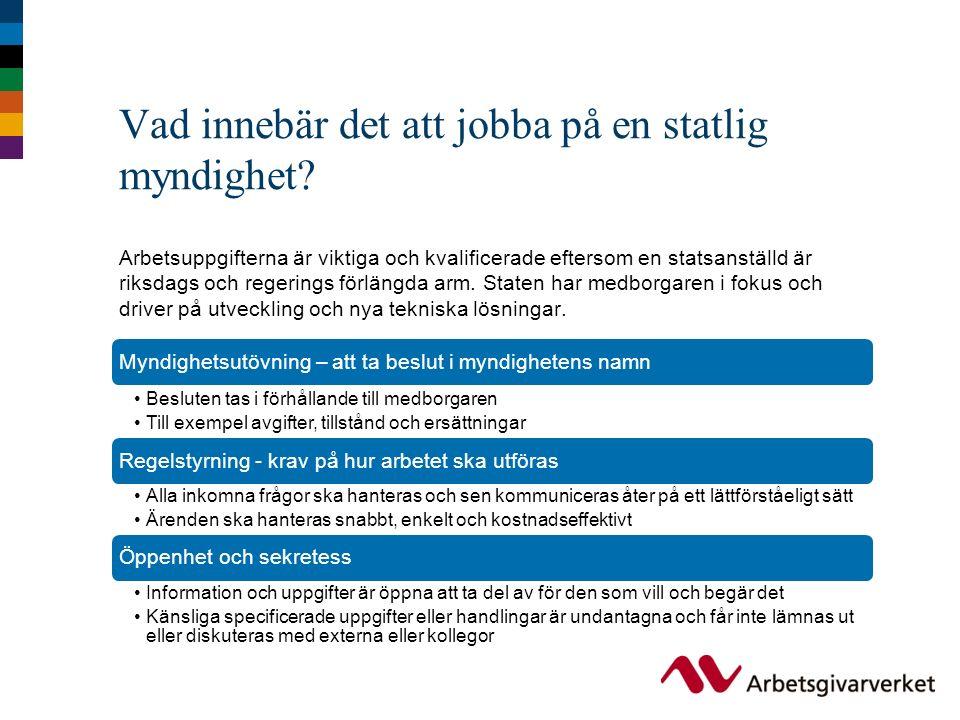 En statsanställds arbetsplats och arbetssituation Hur du mår är viktigt och det finns ett fokus på såväl arbetsplatsens fysiska utformning som på möjlighet till att påverka den egna arbetssituationen genom dialog med chefen.