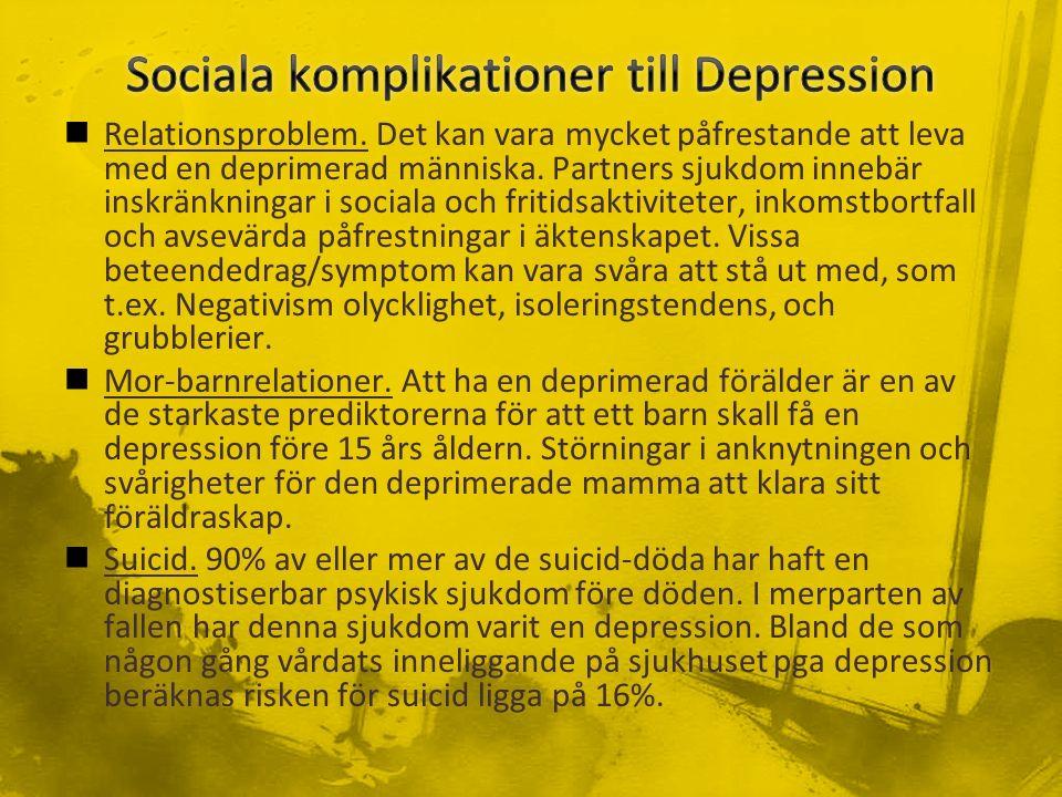 Relationsproblem. Det kan vara mycket påfrestande att leva med en deprimerad människa.