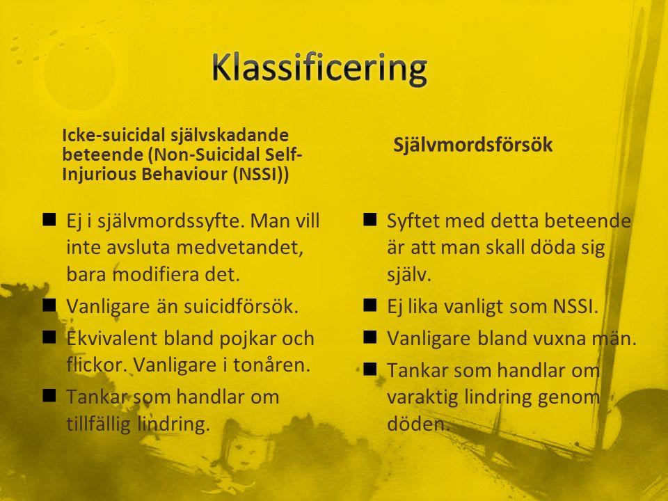 Icke-suicidal självskadande beteende (Non-Suicidal Self- Injurious Behaviour (NSSI)) Ej i självmordssyfte.
