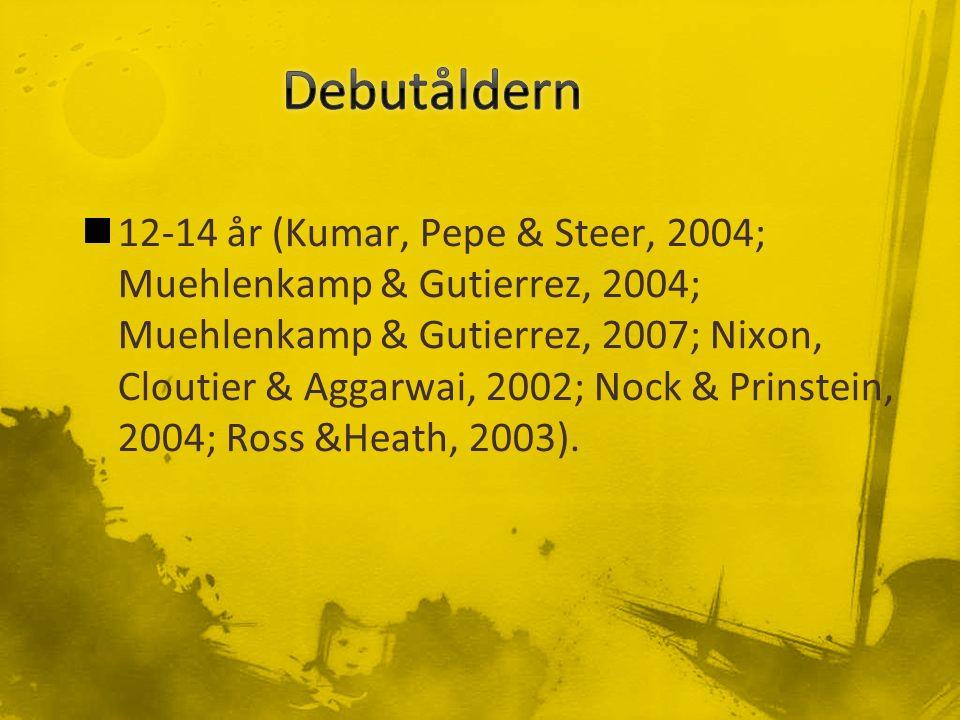12-14 år (Kumar, Pepe & Steer, 2004; Muehlenkamp & Gutierrez, 2004; Muehlenkamp & Gutierrez, 2007; Nixon, Cloutier & Aggarwai, 2002; Nock & Prinstein, 2004; Ross &Heath, 2003).