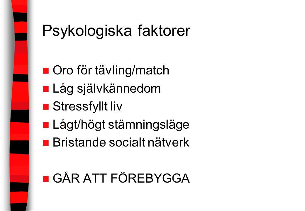 Psykologiska faktorer Oro för tävling/match Låg självkännedom Stressfyllt liv Lågt/högt stämningsläge Bristande socialt nätverk GÅR ATT FÖREBYGGA
