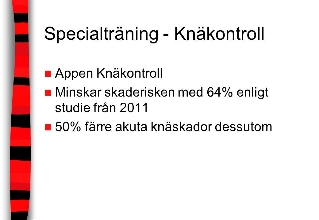 Specialträning - Knäkontroll Appen Knäkontroll Minskar skaderisken med 64% enligt studie från 2011 50% färre akuta knäskador dessutom