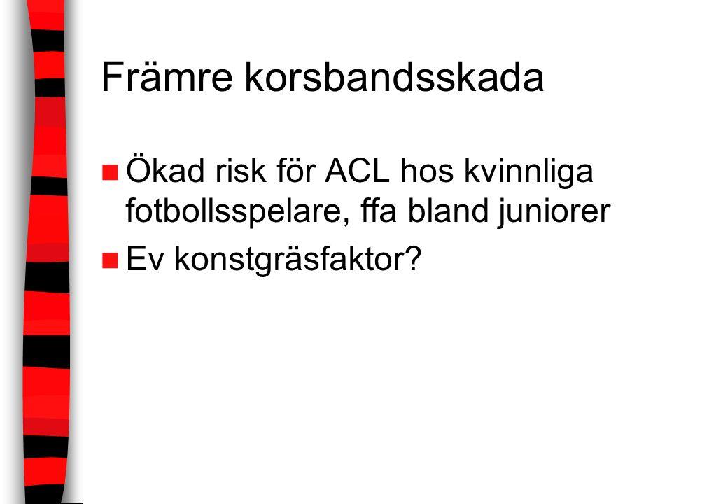 Främre korsbandsskada Ökad risk för ACL hos kvinnliga fotbollsspelare, ffa bland juniorer Ev konstgräsfaktor?