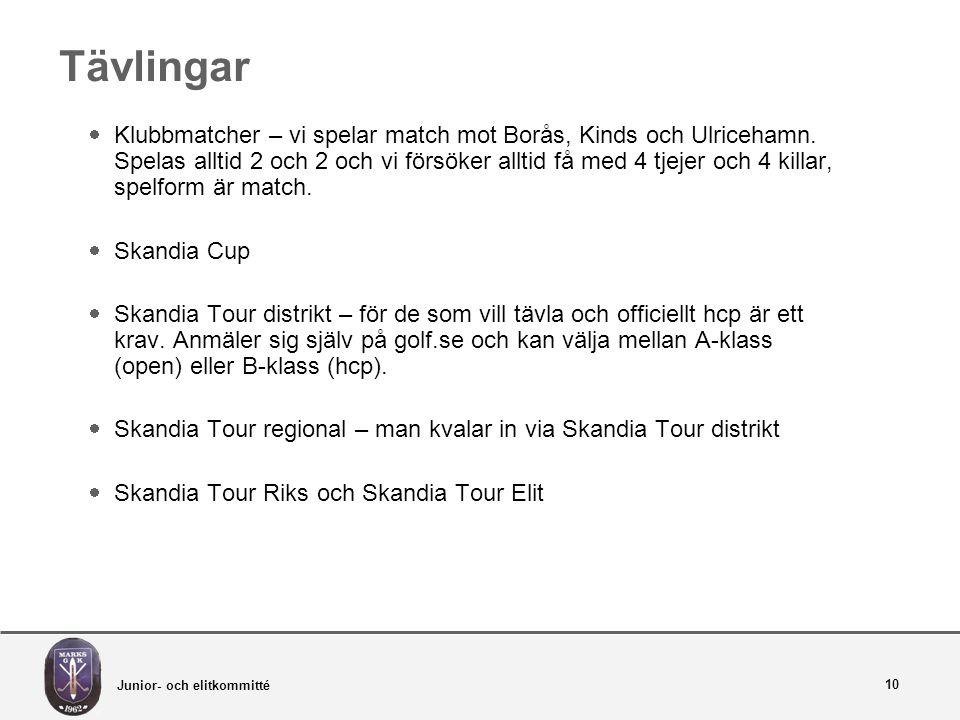Junior- och elitkommitté 10 Tävlingar  Klubbmatcher – vi spelar match mot Borås, Kinds och Ulricehamn.