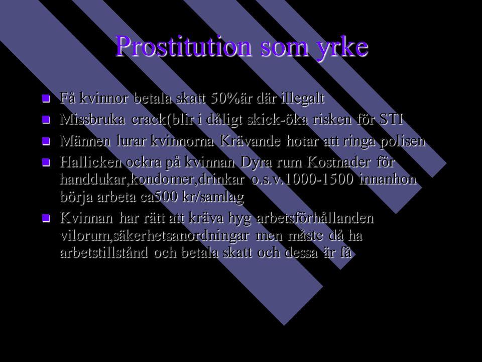 Prostitution som yrke Få kvinnor betala skatt 50%är där illegalt Få kvinnor betala skatt 50%är där illegalt Missbruka crack(blir i dåligt skick-öka risken för STI Missbruka crack(blir i dåligt skick-öka risken för STI Männen lurar kvinnorna Krävande hotar att ringa polisen Männen lurar kvinnorna Krävande hotar att ringa polisen Hallicken ockra på kvinnan Dyra rum Kostnader för handdukar,kondomer,drinkar o.s.v.1000-1500 innanhon börja arbeta ca500 kr/samlag Hallicken ockra på kvinnan Dyra rum Kostnader för handdukar,kondomer,drinkar o.s.v.1000-1500 innanhon börja arbeta ca500 kr/samlag Kvinnan har rätt att kräva hyg arbetsförhållanden vilorum,säkerhetsanordningar men måste då ha arbetstillstånd och betala skatt och dessa är få Kvinnan har rätt att kräva hyg arbetsförhållanden vilorum,säkerhetsanordningar men måste då ha arbetstillstånd och betala skatt och dessa är få