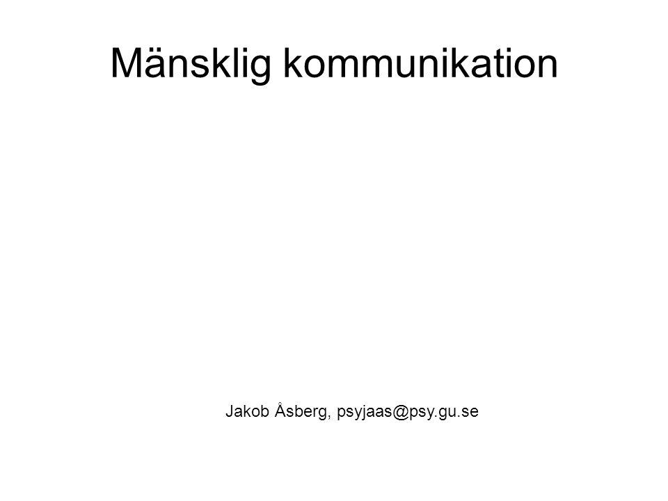 Mänsklig kommunikation Jakob Åsberg, psyjaas@psy.gu.se