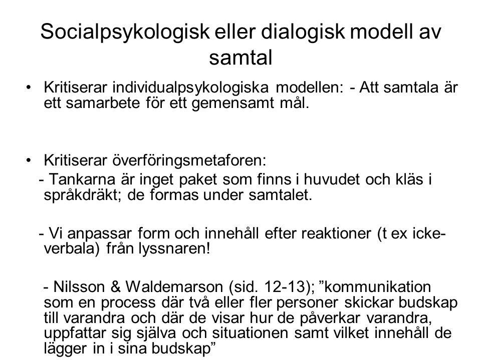 Socialpsykologisk eller dialogisk modell av samtal Kritiserar individualpsykologiska modellen: - Att samtala är ett samarbete för ett gemensamt mål. K