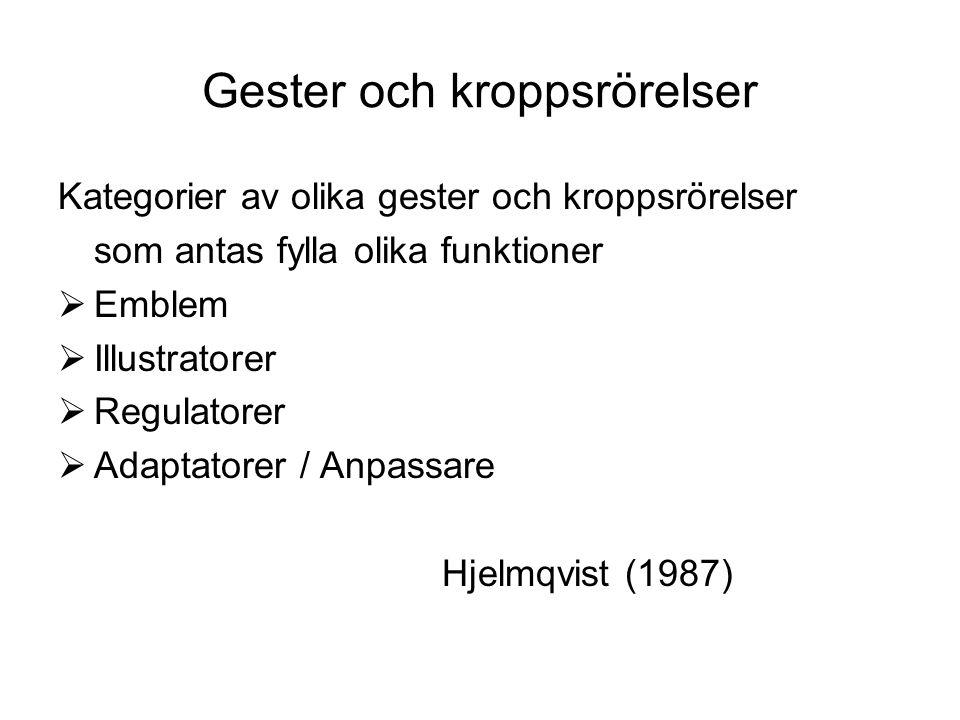 Gester och kroppsrörelser Kategorier av olika gester och kroppsrörelser som antas fylla olika funktioner  Emblem  Illustratorer  Regulatorer  Adaptatorer / Anpassare Hjelmqvist (1987)